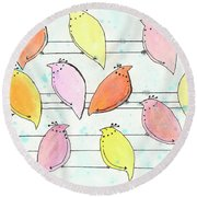 Quail On A Wire Round Beach Towel