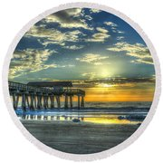 Birds On The Roof Sunrise Tybee Island Round Beach Towel