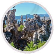 Birds On Tufa Towers-mono Lake Round Beach Towel