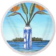 Birds Over Paradise Flowers Round Beach Towel