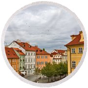 Birds Over Prague Round Beach Towel