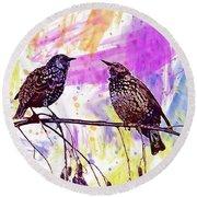 Birds Stare Nature Songbird  Round Beach Towel