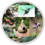 Birdsong Nature Center Collage Round Beach Towel