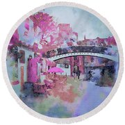 Birmingham Canal Watercolor Round Beach Towel