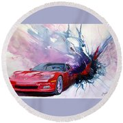 Birth Of A Corvette Round Beach Towel