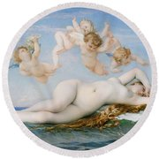 Birth Of Venus Round Beach Towel by Alexandre Cabanel