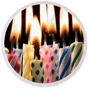 Birthday Candles Round Beach Towel by Garry Gay