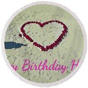 Birthday Card For Lover Round Beach Towel