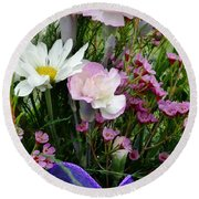 Birthday Flowers Round Beach Towel