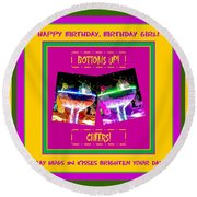 Birthday Girl's Birthday Wishes Round Beach Towel