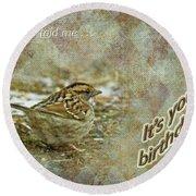 Birthday Greeting Card - White-throated Sparrow Songbird Round Beach Towel