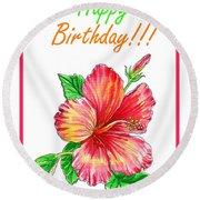 Birthday Hibiscus Round Beach Towel