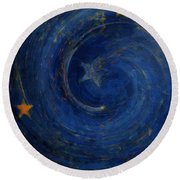 Birthed In Stars Round Beach Towel