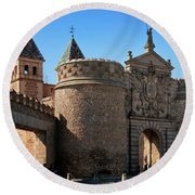 Bisagra Gate Toledo Spain Round Beach Towel by Joan Carroll