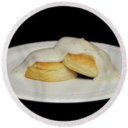 Biscuits And Gravy Round Beach Towel