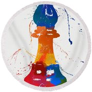 Bishop Chess Piece Paint Splatter Round Beach Towel