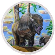 Bison Acrylic Painting Round Beach Towel