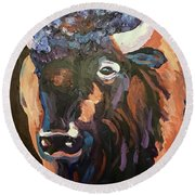 Bison At Dusk Round Beach Towel