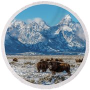 Bison At The Tetons Round Beach Towel