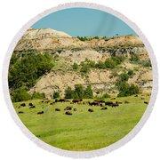 Bison Herd Round Beach Towel