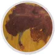 Bison Herd Round Beach Towel