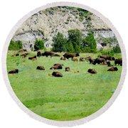 Bison Herd II Round Beach Towel