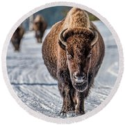 Bison In The Road - Yellowstone Round Beach Towel