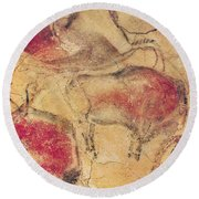 Bisons From The Caves At Altamira Round Beach Towel by Prehistoric