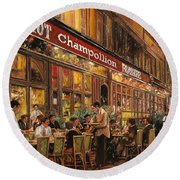 Bistrot Champollion Round Beach Towel by Guido Borelli
