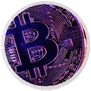 Bitcoin Coins In A Mysterious Lighting Round Beach Towel