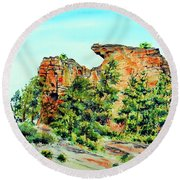 Bitterroot Cliffs Round Beach Towel