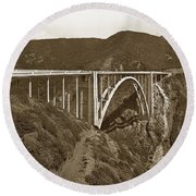 Bixby Creek Aka Rainbow Bridge Bridge Big Sur Photo  1937 Round Beach Towel