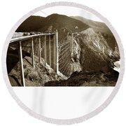 Bixby Creek Bridge Round Beach Towel