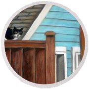 Black Alley Cat Round Beach Towel