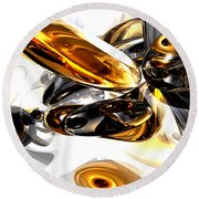 Black Amber Abstract Round Beach Towel
