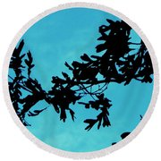 Black And Blue Silhouette Round Beach Towel
