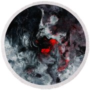 Black And Red Abstract Painting  Round Beach Towel