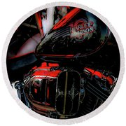 Black And Red Harley 5966 H_2 Round Beach Towel