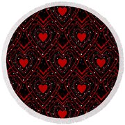Black And Red Hearts Round Beach Towel