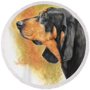 Black And Tan Coonhound Round Beach Towel
