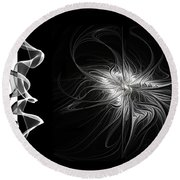 Black And White - 2 - Negative Round Beach Towel