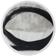 Black And White Abstract 2- Art By Linda Woods Round Beach Towel