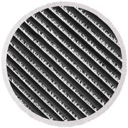 Black And White Abstract Lines Round Beach Towel