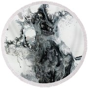 Black And White Abstract Painting  Round Beach Towel