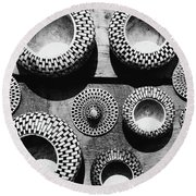Black And White Abstract Pattern Beautiful Traditional Bowls Round Beach Towel