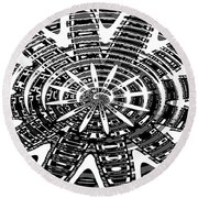Black And White Abstracts Round Beach Towel