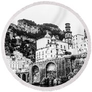 Black And White Amalfi Round Beach Towel