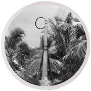 Black And White Anchor Round Beach Towel