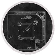 Black And White Baseball Game Patent Round Beach Towel