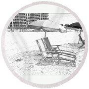 Black And White Beach Chairs Round Beach Towel
